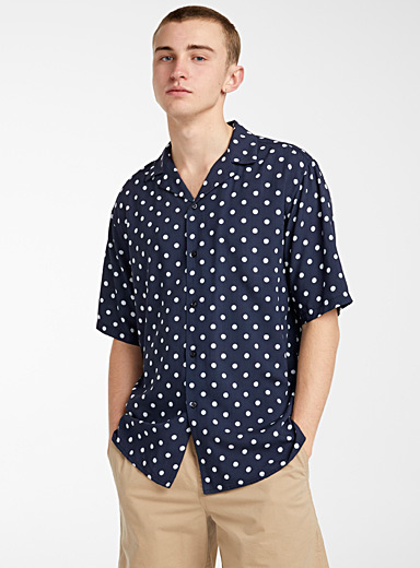 Djab Marine Blue Dotted camp shirt for men