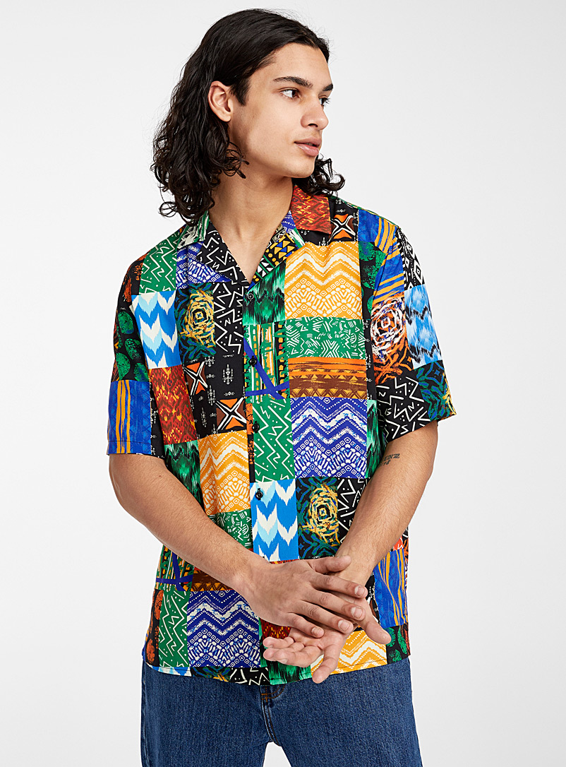 Djab Assorted Tribal collage camp shirt for men