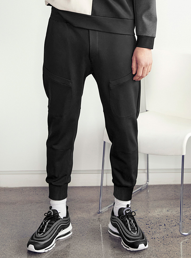 Le 31 Black Structured jersey ergonomic joggers for men