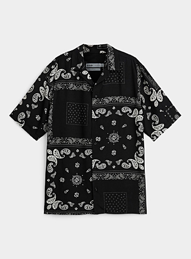 Black and white bandana camp shirt