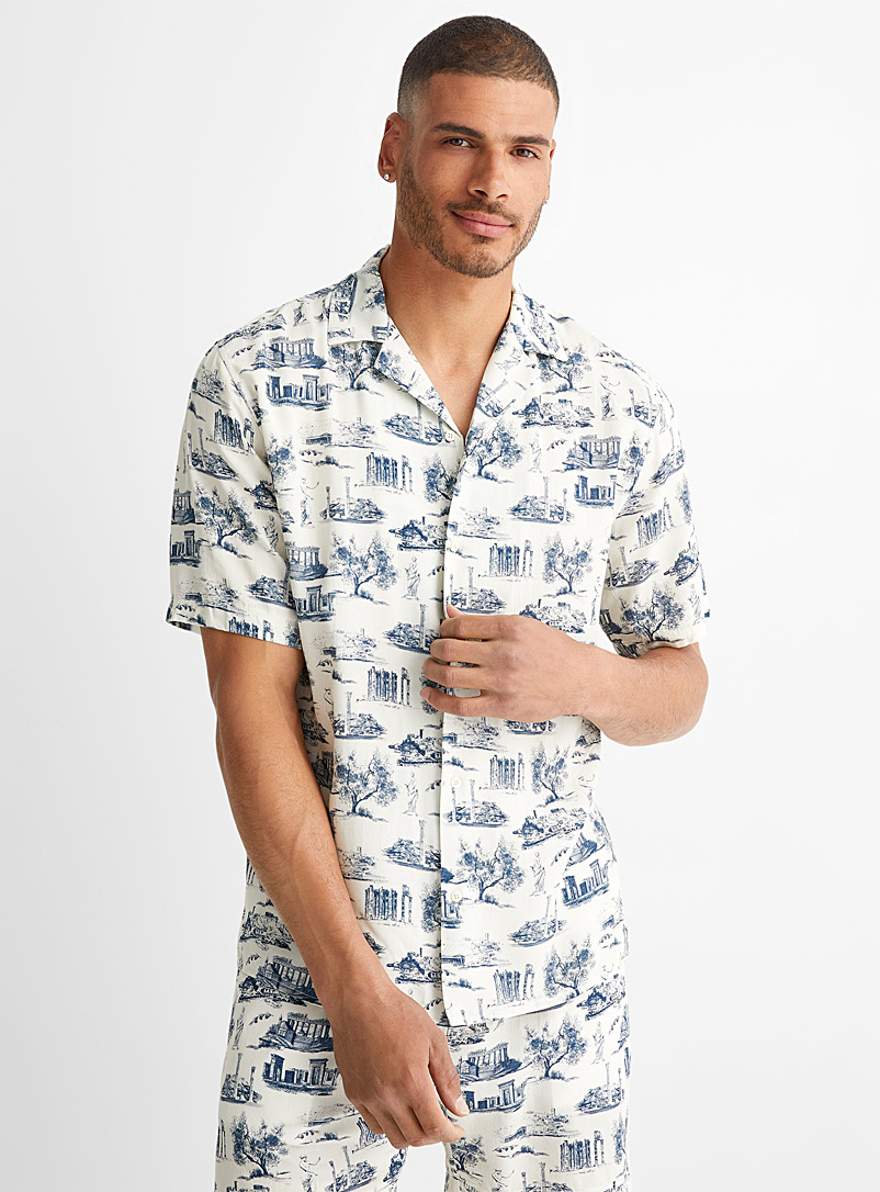 Le 31 Patterned Ecru Vacationer pyjama shirt for men
