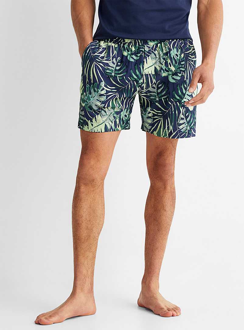 Le 31 Patterned Blue Vacationer pyjama short for men