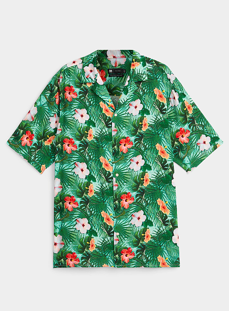 Le 31 Patterned Green Hibiscus flower fluid shirt for men