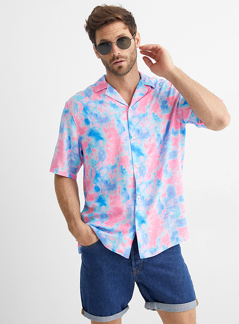Le 31 Patterned Blue Cotton candy tie-dye camp shirt for men