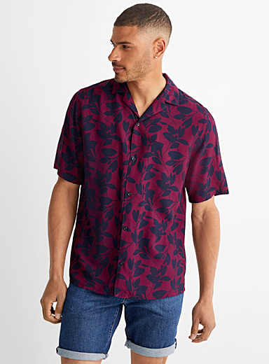 Indigo foliage fluid shirt