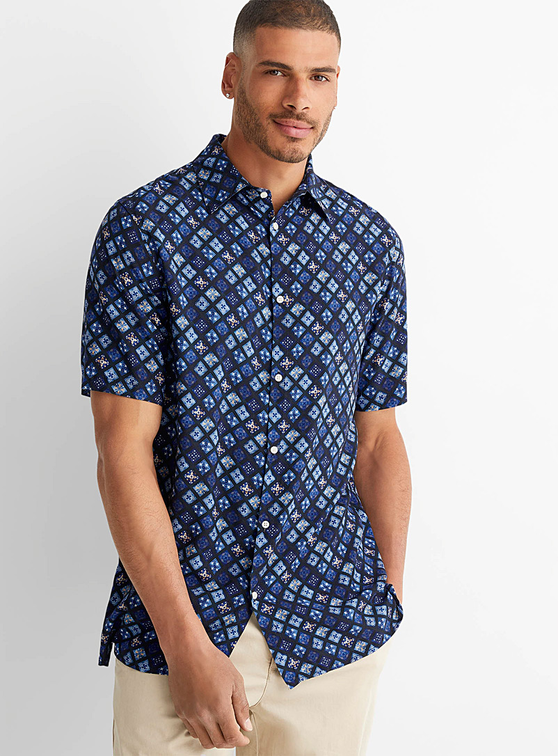 Le 31 Blue Mosaic fluid shirt for men
