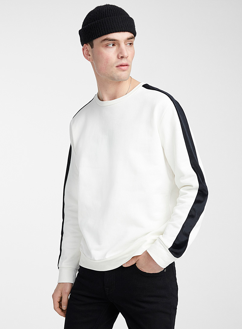 Le 31 Cream Beige Velvety band sweatshirt for men