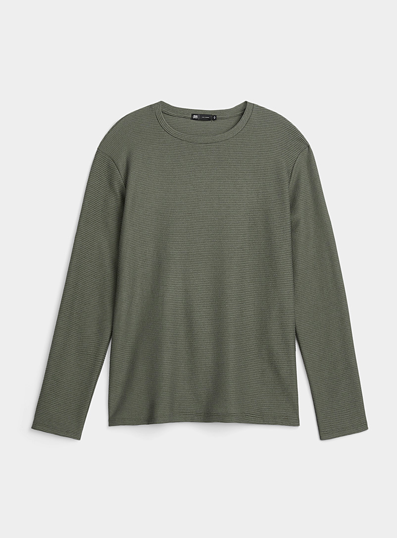 Le 31 Mossy Green Embossed stripe T-shirt for men