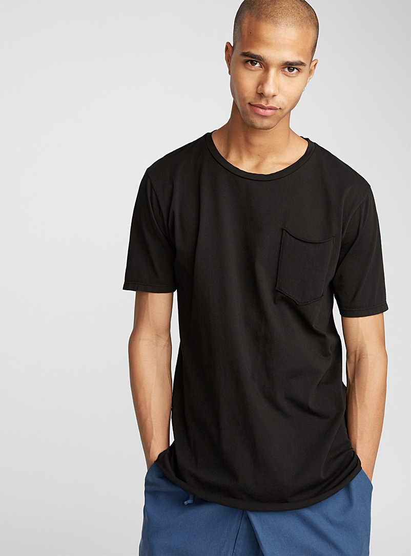 Long minimalist T-shirt - Short sleeves & 3/4 sleeves - Black