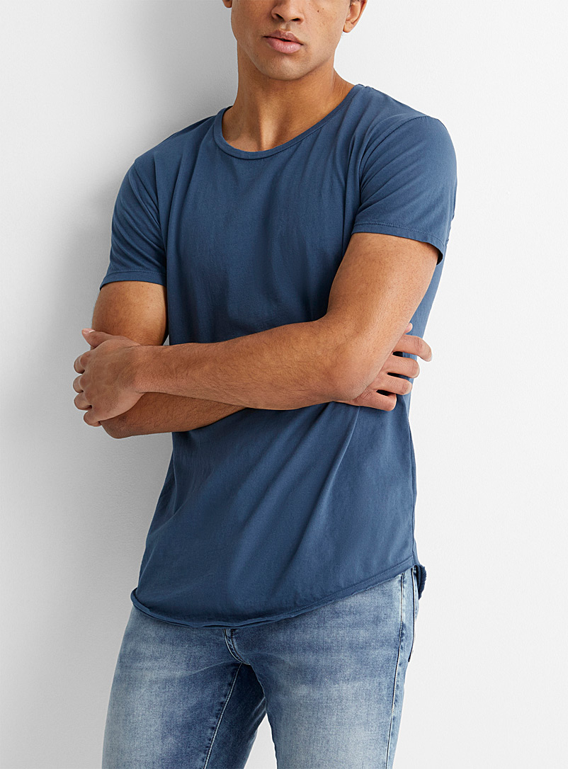 Le 31 Slate Blue Scissor trim T-shirt for men