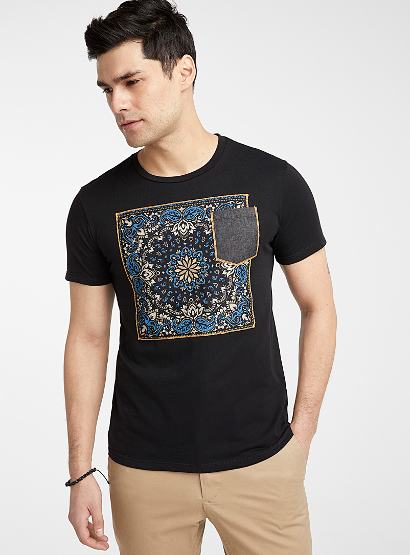 Le 31 Black Bandana framed T-shirt for men