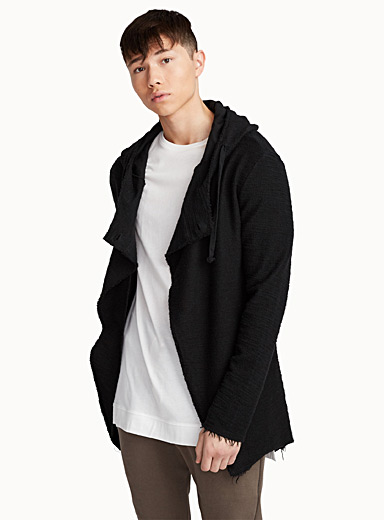 Long asymmetric terry cardigan