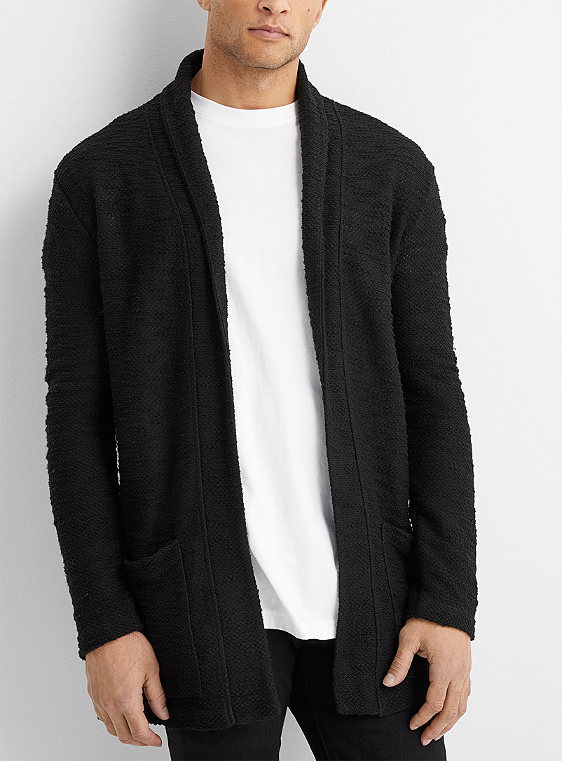Le 31 Black Embossed knit open cardigan for men