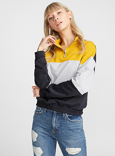 Three block half-zip sweatshirt