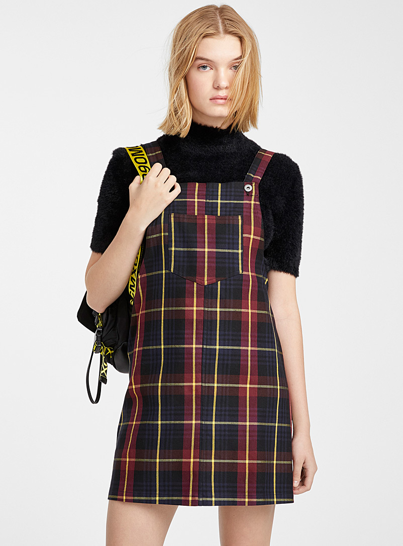 British tartan apron dress - Straight - Patterned Black