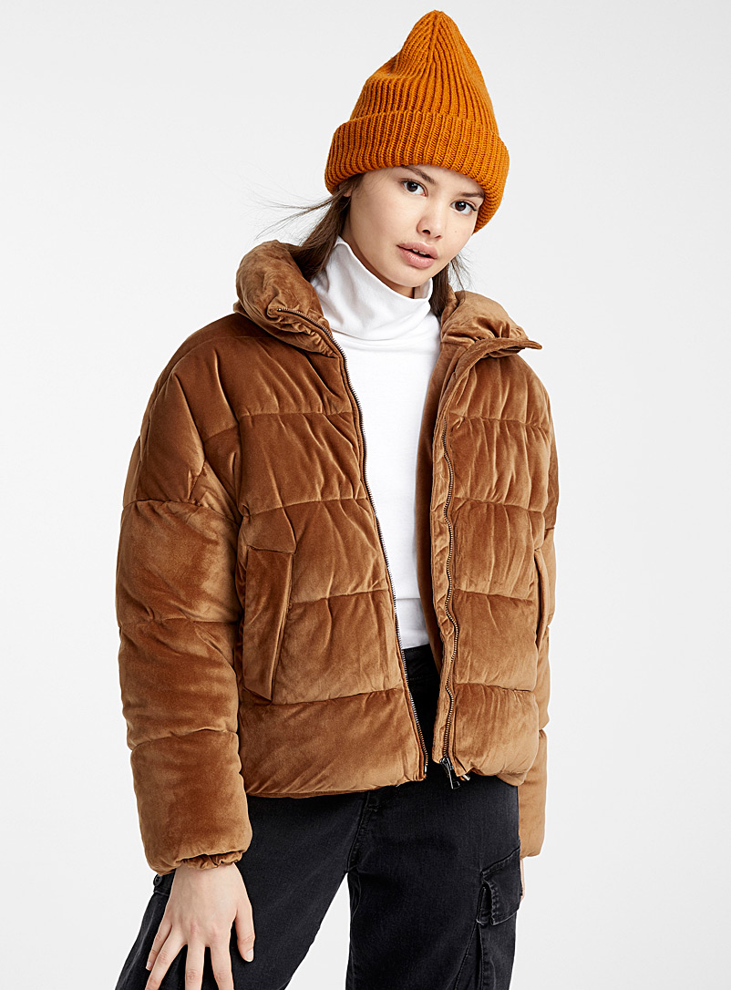 Soft velvet puffer jacket - Quilted and Down Jackets - Brown