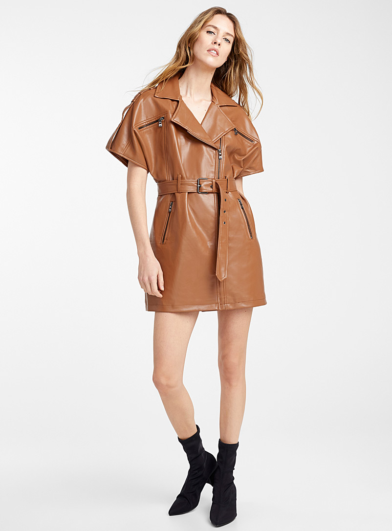 Faux-leather belted dress - Straight - Honey