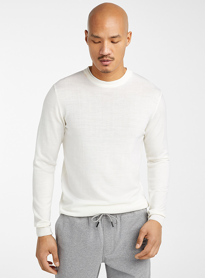 Le 31 Ivory White Merino wool sweater for men