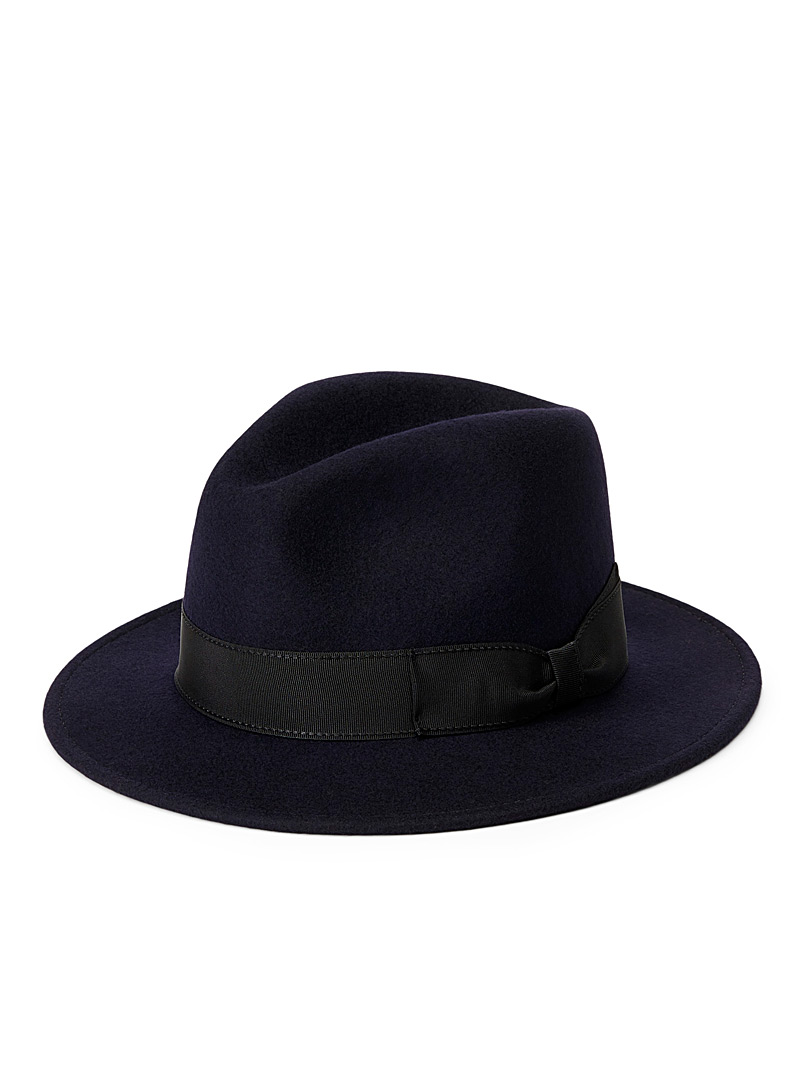 Trimmed pure wool fedora - Hats - Marine Blue