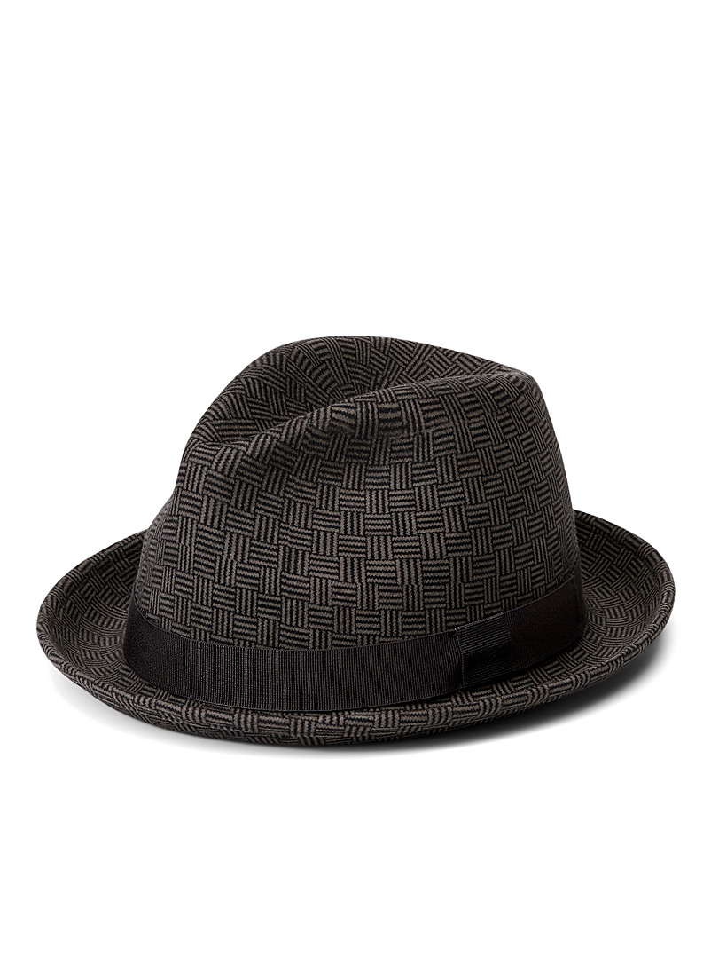Le 31 Grey Graphic fedora for men