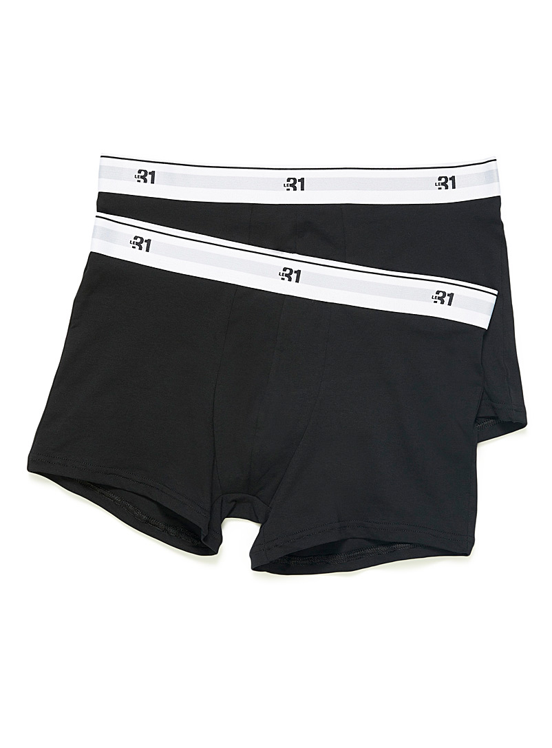 Le 31 Black Classic organic cotton boxer briefs 2-pack for men