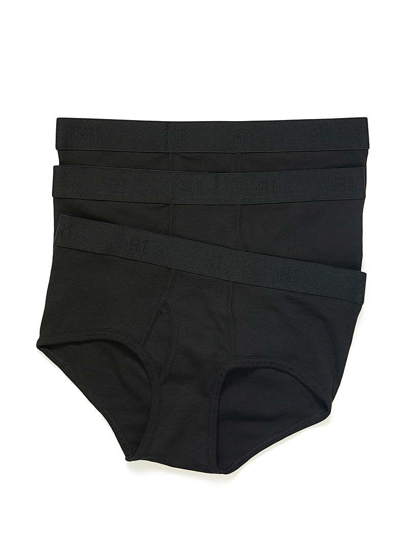 Le 31 Black Solid organic cotton briefs  3-pack for men
