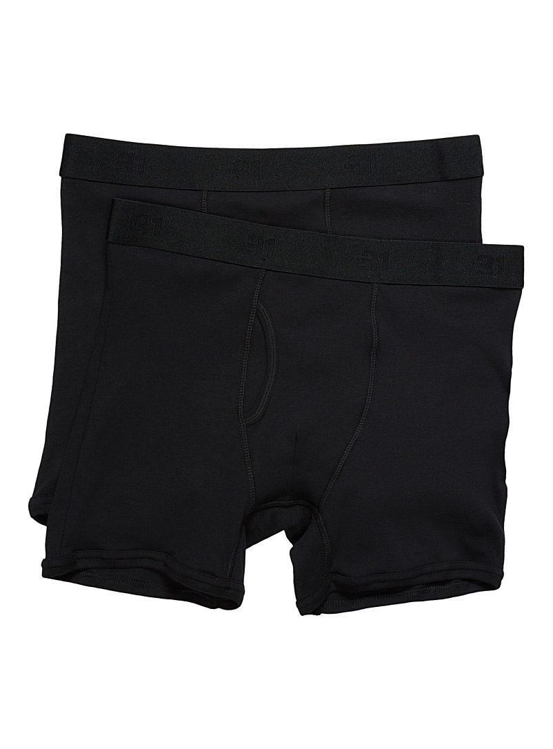Le 31 Black Organic cotton boxer brief  2-pack for men
