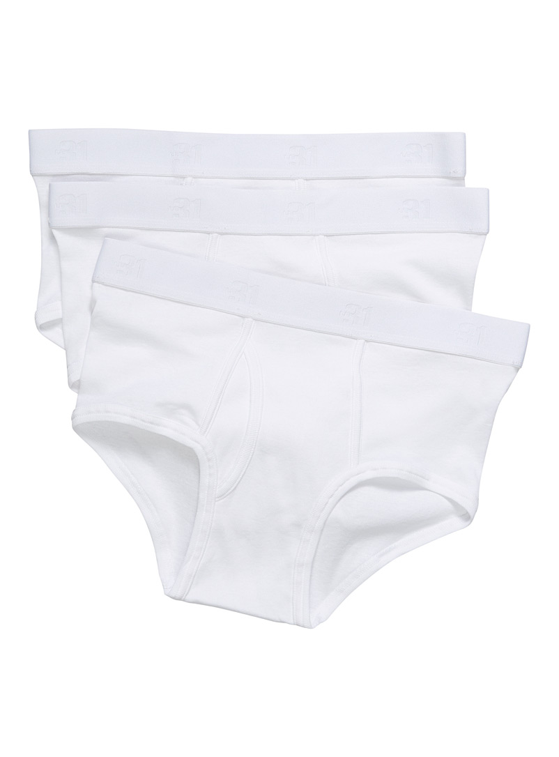 Le 31 White Organic cotton solid brief  3-pack for men