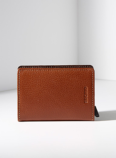 Grained leather miniwallet