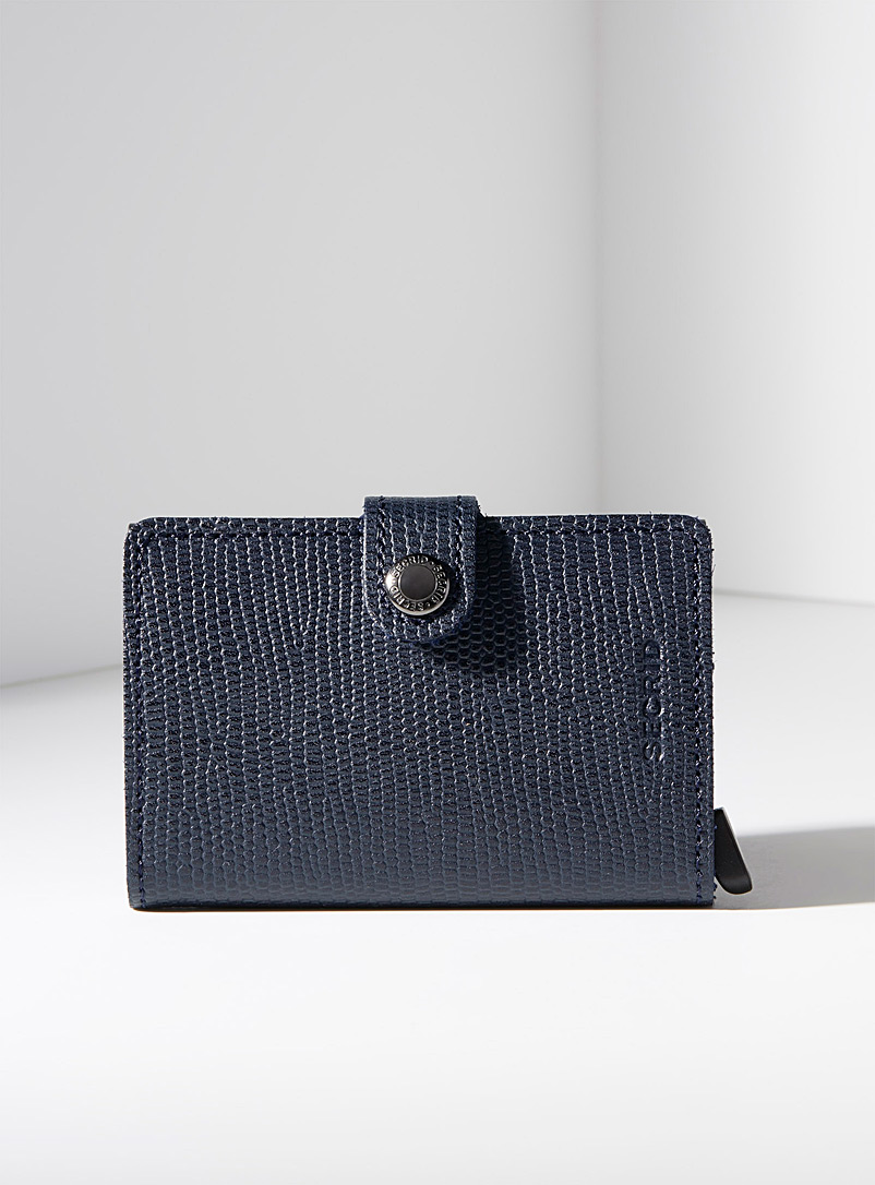 Navy blue textured leather miniwallet - Wallets - Blue