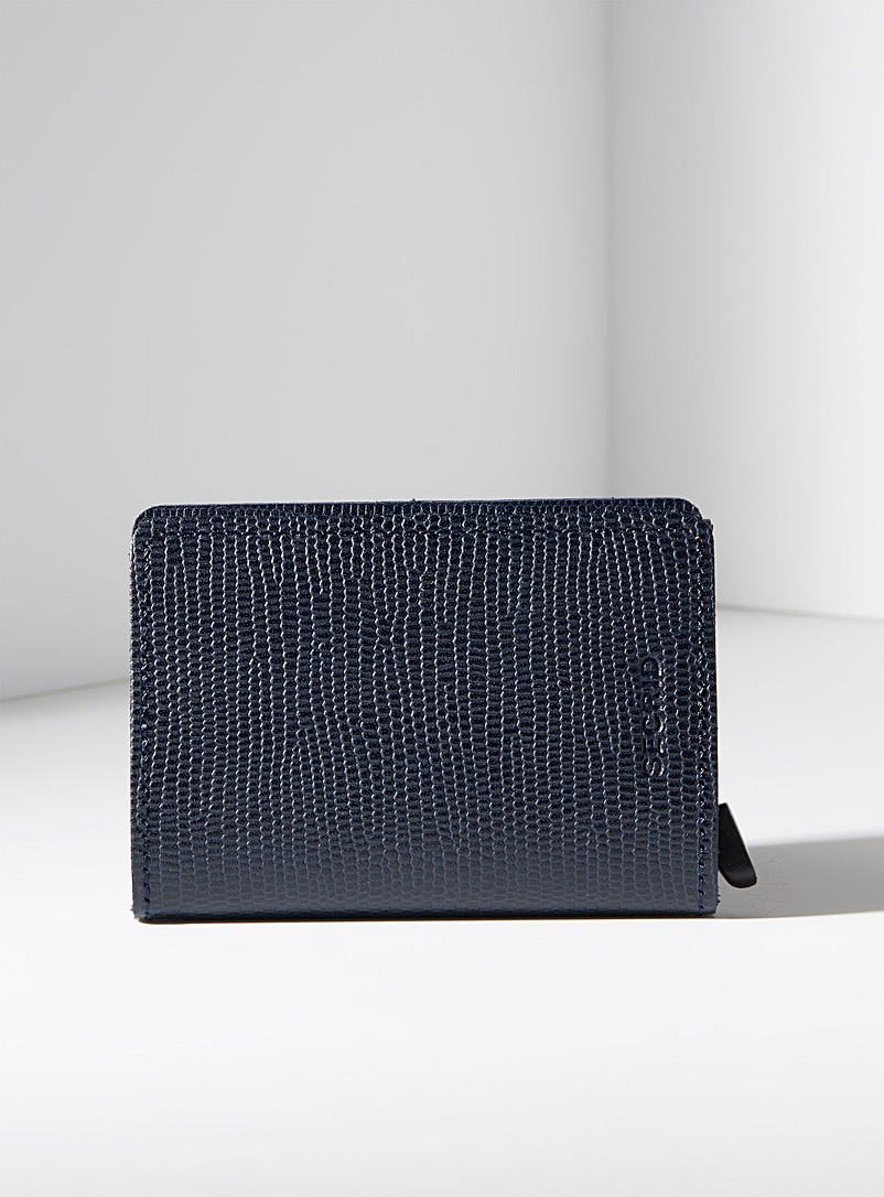 Navy blue pebbled leather miniwallet