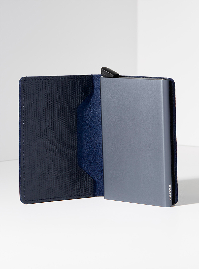 Secrid Blue Navy blue grained leather miniwallet for men