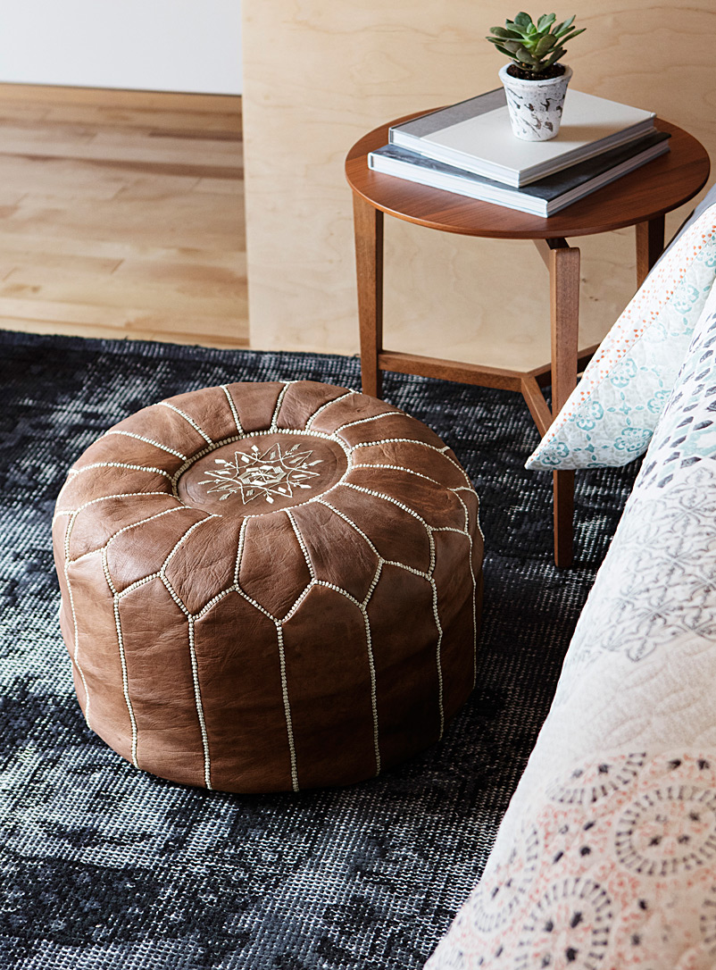 Moroccan leather pouf - Poufs - Fawn