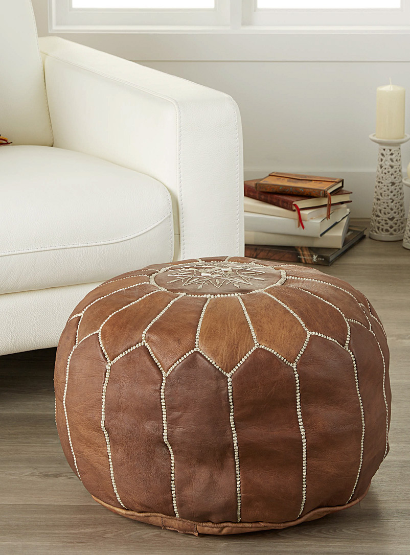 Simons Maison Fawn Moroccan leather pouf