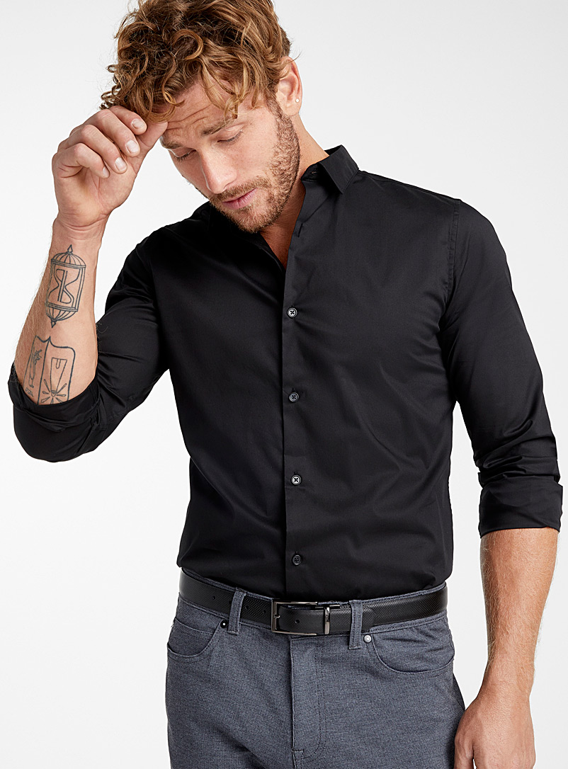 Le 31 Black Solid stretch shirt  Slim fit for men