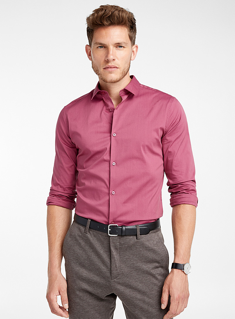 Solid stretch shirt  Slim fit - Solid - Dusky Pink