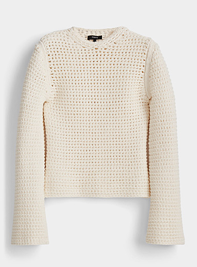 Theory Ivory White Cream mesh-knit sweater for women