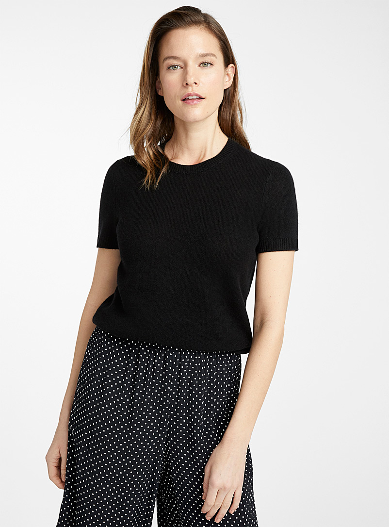Theory Black Pure cashmere short-sleeve sweater for women