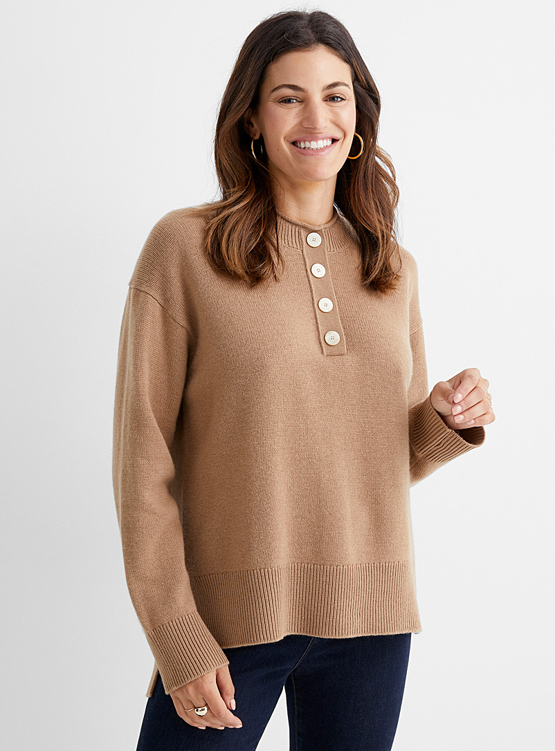 Theory Amber Bronze Buttoned-neck cashmere sweater for women