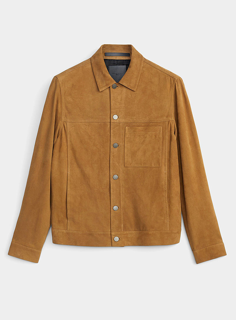 Theory Cream Beige Patterson velvety suede jacket for men