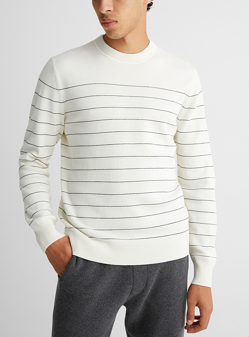 Theory: Le pull mérinos Nathan fines rayures Ivoire blanc os pour homme