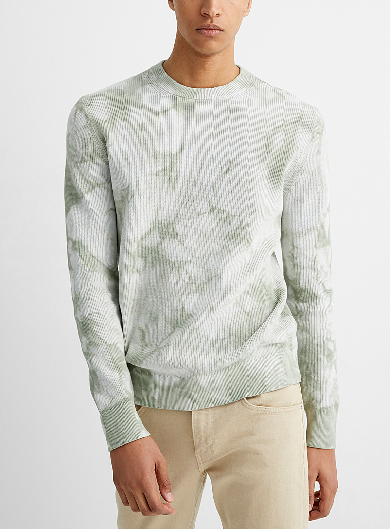 Theory Green Sage tie-dye sweater for men