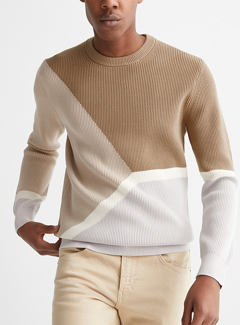 Theory Ivory White Geo colour block sweater for men