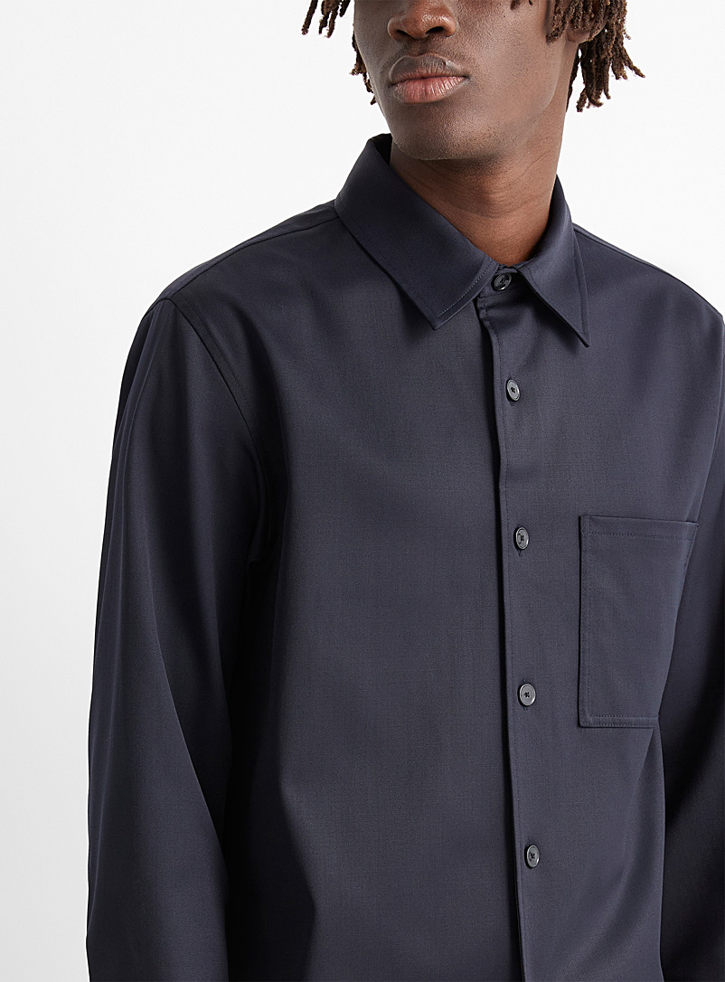 Theory: Le blouson chemise twill Clyfford Marine pour homme