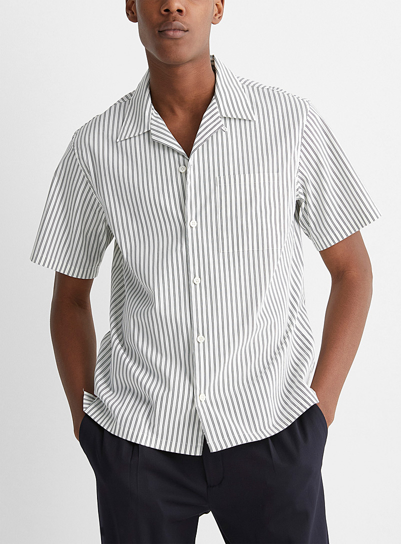 Theory: La chemise popeline extensible rayures duo Blanc pour homme