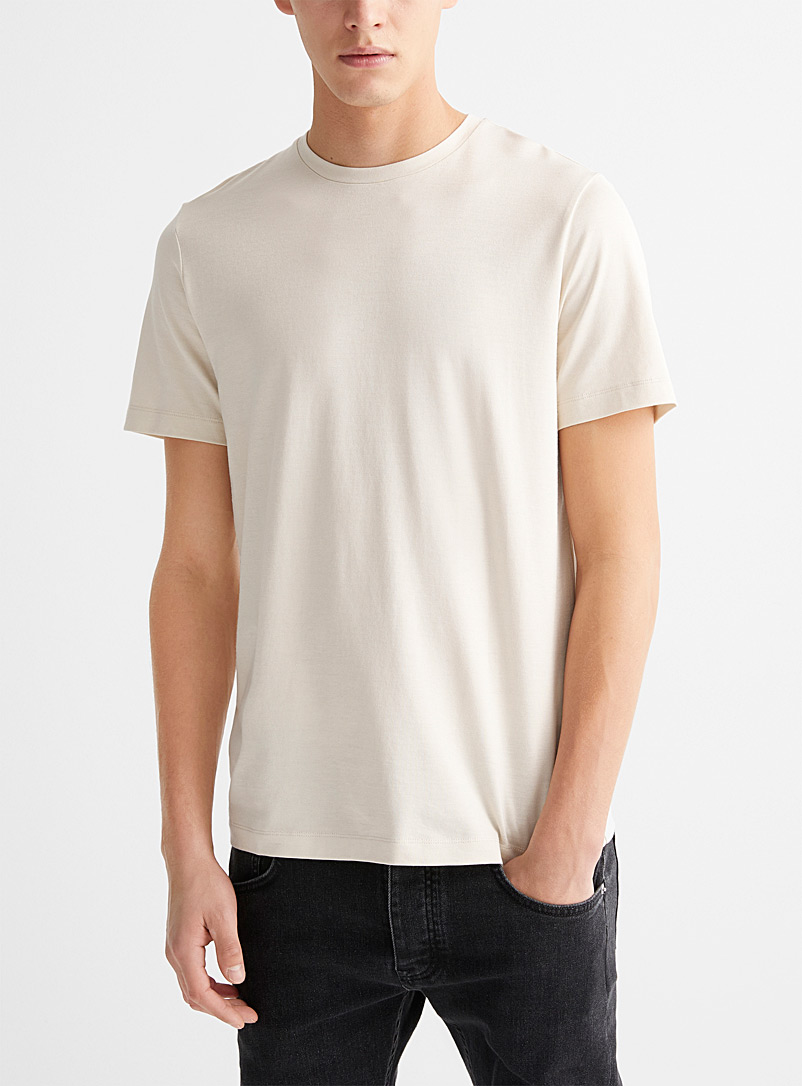 Theory White Clean silk jersey T-shirt for men
