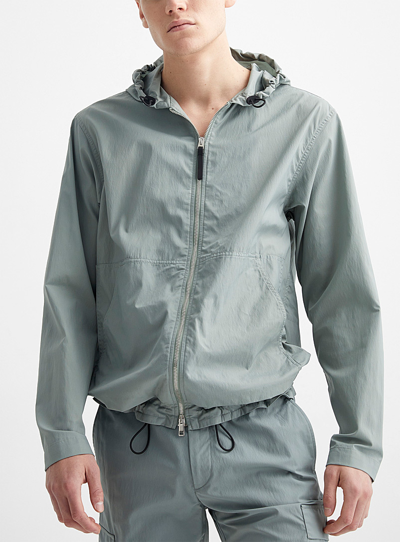 Theory Green Piqué nylon packable windbreaker for men