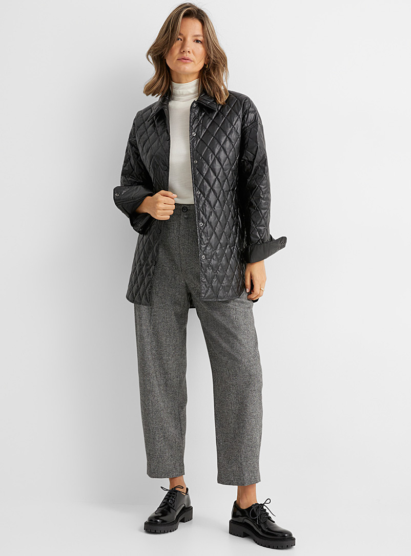 Theory Black Diamond pattern quilted faux-lather jacket for women