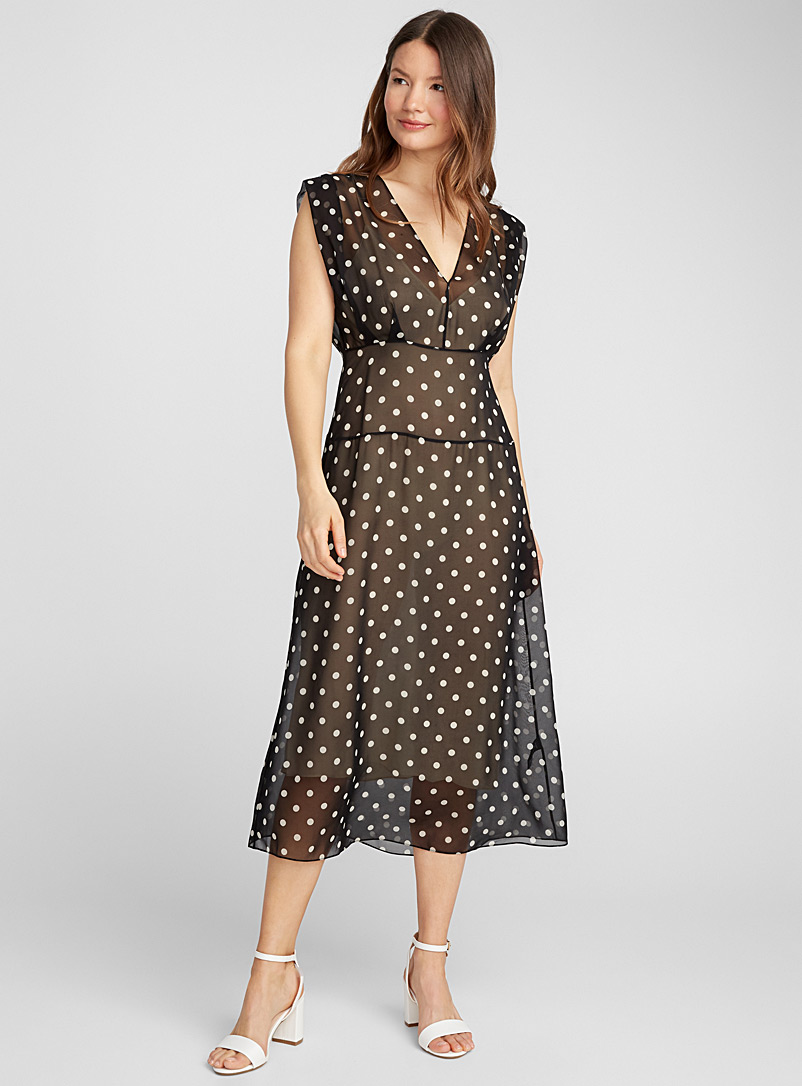 Dotted voile midi dress - Cocktail