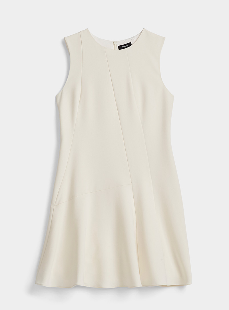 Theory Ivory White Asymmetric seam dress for women